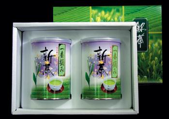 ヤブ北一番摘み新茶 100g缶x2本詰合((化粧箱入)(包装デザインが変わる場合があります)